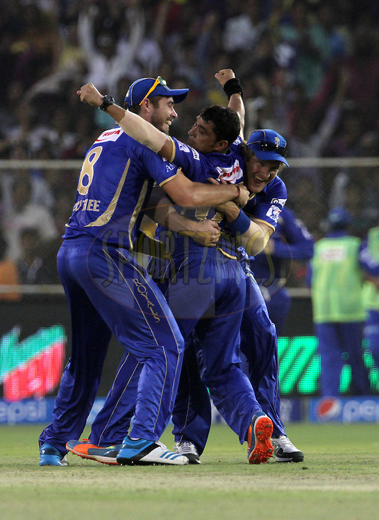 Pravin Tambe of the Rajasthan Royals celebrates with his teammates after taking the wicker of  Ryan Ten Doeschate of the Kolkata Knight Riders Knight Riders and also the hatrick during match 25 of the Pepsi Indian Premier League Season 2014 between the Rajasthan Royals and the Kolkata Knight Riders held at the Sardar Patel Stadium, Ahmedabad, India on the 5th May  2014<br /> <br /> Photo by Vipin Pawar / IPL / SPORTZPICS      <br /> <br /> <br /> <br /> Image use subject to terms and conditions which can be found here:  http://sportzpics.photoshelter.com/gallery/Pepsi-IPL-Image-terms-and-conditions/G00004VW1IVJ.gB0/C0000TScjhBM6ikg