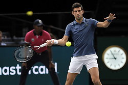 October 30, 2018 - Paris, France - Serbian player NOVAK DJOKOVIC returns the ball to portuguese player JOAO SOUSA during the tournament Rolex Paris Master at Paris AccorHotel Arena Stadium in Paris France..Novak Djokovic  won 7-5 6-1 (Credit Image: © Pierre Stevenin/ZUMA Wire)