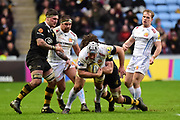 Exeter Chiefs number 8 Thomas Waldrom  is tackled during the Aviva Premiership match between Wasps and Exeter Chiefs at the Ricoh Arena, Coventry, England on 18 February 2018. Picture by Dennis Goodwin.