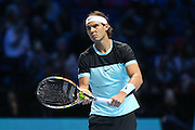 Rafael Nadal serves during the ATP World Tour Finals at the O2 Arena, London, United Kingdom on 20 November 2015. Photo by Phil Duncan.