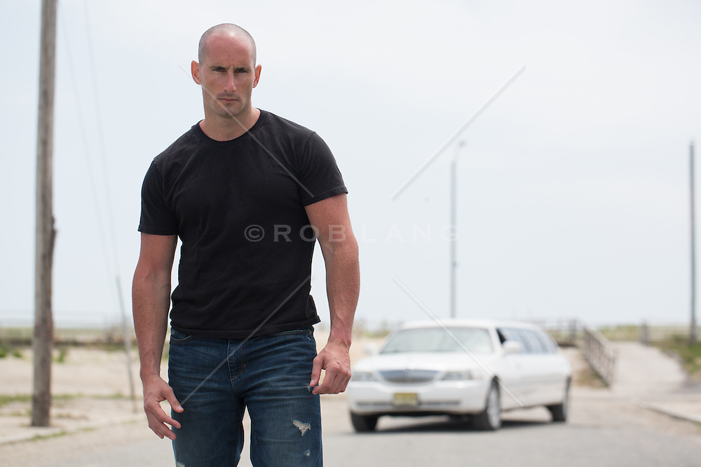 man with a shaved head outdoors in Atlantic City, NJ