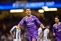 Cristiano Ronaldo of Real Madrid celebrates scoring during the UEFA Champions League Final match between Real Madrid and Juventus at the National Stadium of Wales, Cardiff, Wales on 3 June 2017. Photo by Giuseppe Maffia.<br /> <br /> Giuseppe Maffia/UK Sports Pics Ltd/Alterphotos