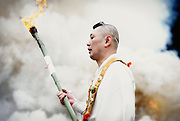 """The """"Firewalking Festival,"""" purification ceremony in which participants walk barefoot across burning embers in Takao, west of Tokyo, Japan on Sunday 09 March  2009."""