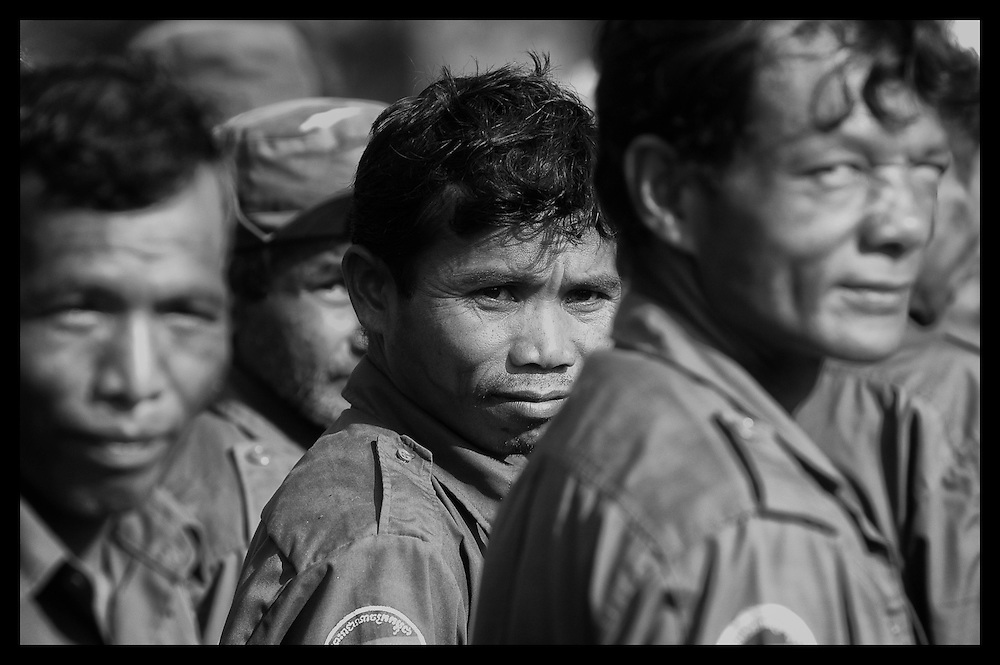 Former Khmer Rouge soldiers gather near Pailin for their monthly muster as new members of the Cambodia Army.  Pailin was one of the last major strongholds of the Khmer Rouge.