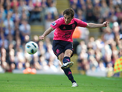 BLACKBURN, ENGLAND - Saturday, August 14, 2010: Everton's Leighton Baines in action against Blackburn Rovers during the Premiership match at Ewood Park. (Pic by: David Rawcliffe/Propaganda)