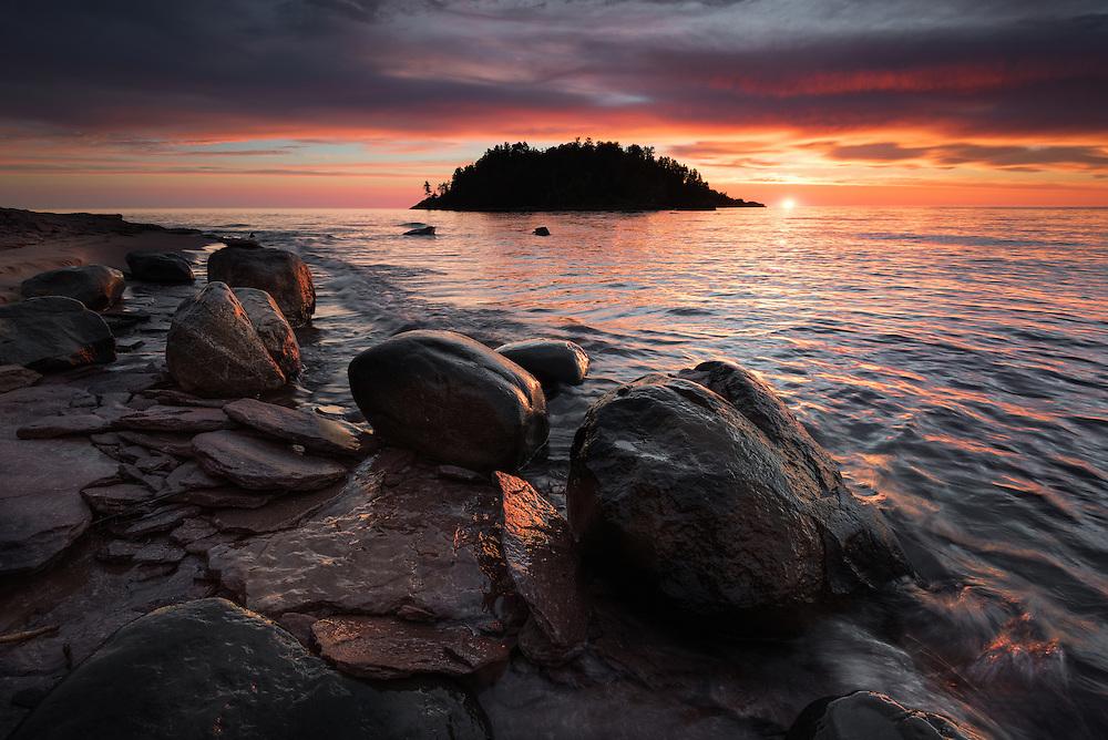 A blast of color over Lake Superior and Little Presque Isle<br /> Marquette County<br /> Michigan's Upper Peninsula