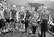 The Cork team which started in the 8 day Rás Tailteann.  From left are Kevin O'Brian; Michael Stack; Tom Pratt; John Aher, Team Manager; John Brislane; Pat Reidy, Team Coach, and his son Billy..05.07.1964