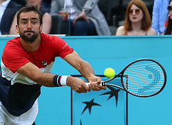 June 20, 2018 - London, England, United Kingdom - Marin Cilic (CRO) in action.during Fever-Tree Championships 2nd Round match between Frances Tiafoe (USA) against Leonardo Mayer(ARG) at The Queen's Club, London, on 20 June 2018  (Credit Image: © Kieran Galvin/NurPhoto via ZUMA Press)