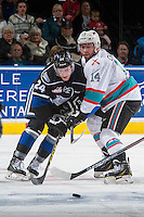 KELOWNA, CANADA - APRIL 12: Regan Nagy #24 of Victoria Royals checks Rourke Chartier #14 of Kelowna Rockets on April 12, 2016 at Prospera Place in Kelowna, British Columbia, Canada.  (Photo by Marissa Baecker/Shoot the Breeze)  *** Local Caption *** Regan Nagy; Rourke Chartier;
