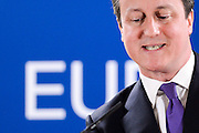 Brusssels : 08 febuary 2013<br /> Final press conference at the second day of the European Union leaders summit in Brussels<br /> Picture: David Cameron<br /> Credit : Sierakowski / Closon / Isopix *** local caption *** 20891742