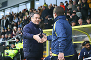 Micky Mellon Tranmere Rovers Manager  and Nigel Clough Manager of Burton Albion during the EFL Sky Bet League 1 match between Burton Albion and Tranmere Rovers at the Pirelli Stadium, Burton upon Trent, England on 26 December 2019.