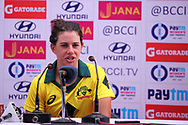 Nicole Bolton of Australia speaks during the press conference of the first women's one day International ( ODI ) match between India and Australia held at the Reliance Cricket Stadium in Vadodara, India on the 12th March 2018<br /> <br /> Photo by Vipin Pawar / BCCI / SPORTZPICS