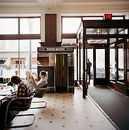 The lobby of the Ace Hotel in downtown Portland, Oregon features a photo booth that takes credit cards.