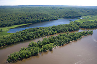 Aerial of Chapman Pond, freshwater estuary along the Connecticut River, East Haddam, CT.