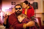 Mario Bihari holding his daughter Dorinka.