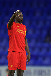 BIRKENHEAD, ENGLAND - Wednesday, September 28, 2016: Liverpool's Mamadou Sakho in action against Wolfsburg during the Premier League International Cup match at Prenton Park. (Pic by David Rawcliffe/Propaganda)