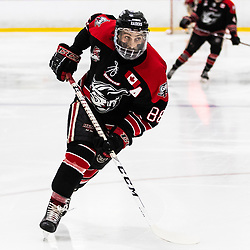 TORONTO, ON - APR 10, 2018: Ontario Junior Hockey League, South West Conference Championship Series. Game seven of the best of seven series between the Georgetown Raiders and the Toronto Patriots, Andrew Court #88 of the Georgetown Raiders turns and follows the play during the third period.<br /> (Photo by Kevin Raposo / OJHL Images)