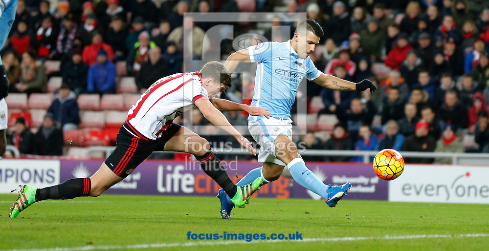 Sergio Aguero (r) of Manchester City scoring the opening goal during the Barclays Premier League match at the Stadium Of Light, Sunderland<br /> Picture by Simon Moore/Focus Images Ltd 07807 671782<br /> 02/02/2016