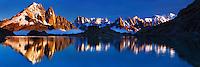 Mountain impression Lac Blanc with Aiguille Vert, Aiguilles de Chamonix, Mont Blanc - Europe, France, Haute Savoie, Aiguilles Rouges, Chamonix, Lac Blanc - Sunset - September 2008