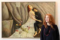 The legendary events and personal tragedies that marked the life of Mary, Queen of Scots will be the subject of a new exhibition in Edinburgh this autumn. Linger Awhile, which will open on 14 September at Arusha Gallery, will include 17 new oil paintings by Glasgow-based artist Helen Flockhart, focusing on the human side of the historical figure.<br /> <br /> Helen Flockhart (b.1963) is one of the finest and most distinctive Scottish artists of her generation. She often draws creative inspiration from esoteric and mythical sources, and her unique style combines intricate patterns, backdrops of lush foliage, and surreal scenes that appear suspended in time.<br /> <br /> Pictured: Helen Flockhart with Linger Awhile, 2018