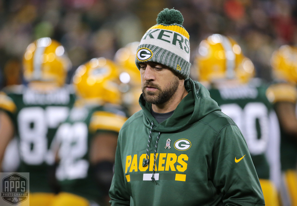 Green Bay Packers quarterback Aaron Rodgers (12) walking out on the field before the Packers Lions game. <br /> The Green Bay Packers hosted the Detroit Lions at Lambeau Field Monday, Nov. 6, 2017. STEVE APPS FOR THE STATE JOURNAL.