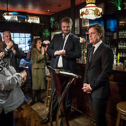 WASHINGTON, DC - MAR7: Caspar Phillipson, the Danish actor who played JFK in the recent movie Jackie, is applauded after reenacting some of President Kennedy's most famous speeches at Martin's Tavern in Georgetown, while Danish historian, author, and friend Anders Agner Pedersen looks on, March 7, 2017. (Photo by Evelyn Hockstein/For The Washington Post)