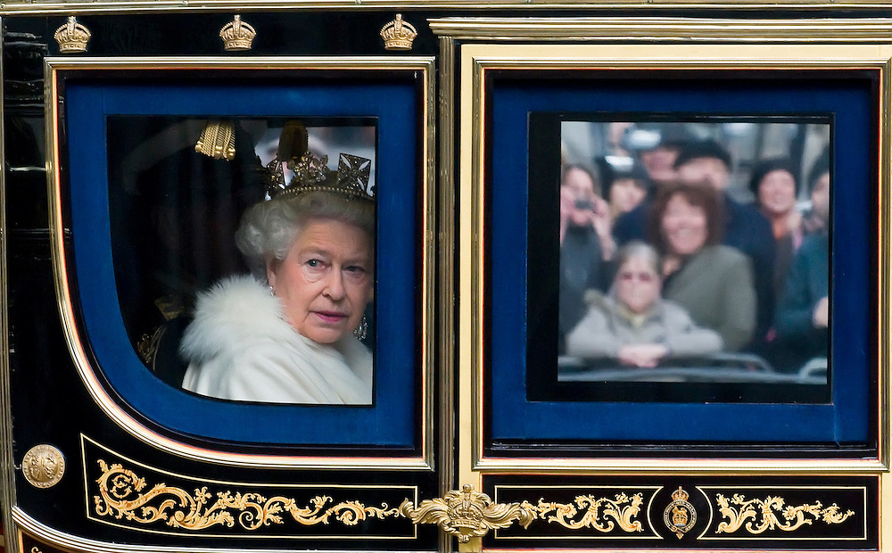 London Dec 3rd HRH Queen Elizabeth II arriving at Westminster today for the annual State Opening of Parliament, London, England 03/12/2008 .