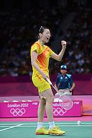 Li Xuerui, China, Celebrates Victory over Wang Xin, China, Womens Singles semi final, Olympic Badminton London Wembley 2012