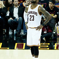 07 June 2017: Cleveland Cavaliers forward LeBron James (23) rests during the Golden State Warriors 118-113 victory over the Cleveland Cavaliers, in game 3 of the 2017 NBA Finals, at  the Quicken Loans Arena, Cleveland, Ohio, USA.
