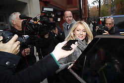 © Licensed to London News Pictures. 15/11/2018. London, UK. Pensions Secretary Esther McVey leaves home. Prime Minister Theresa May will make a statement to MPs in Parliament on the EU withdrawal agreement today after cabinet agreed on the proposal. Photo credit: Peter Macdiarmid/LNP