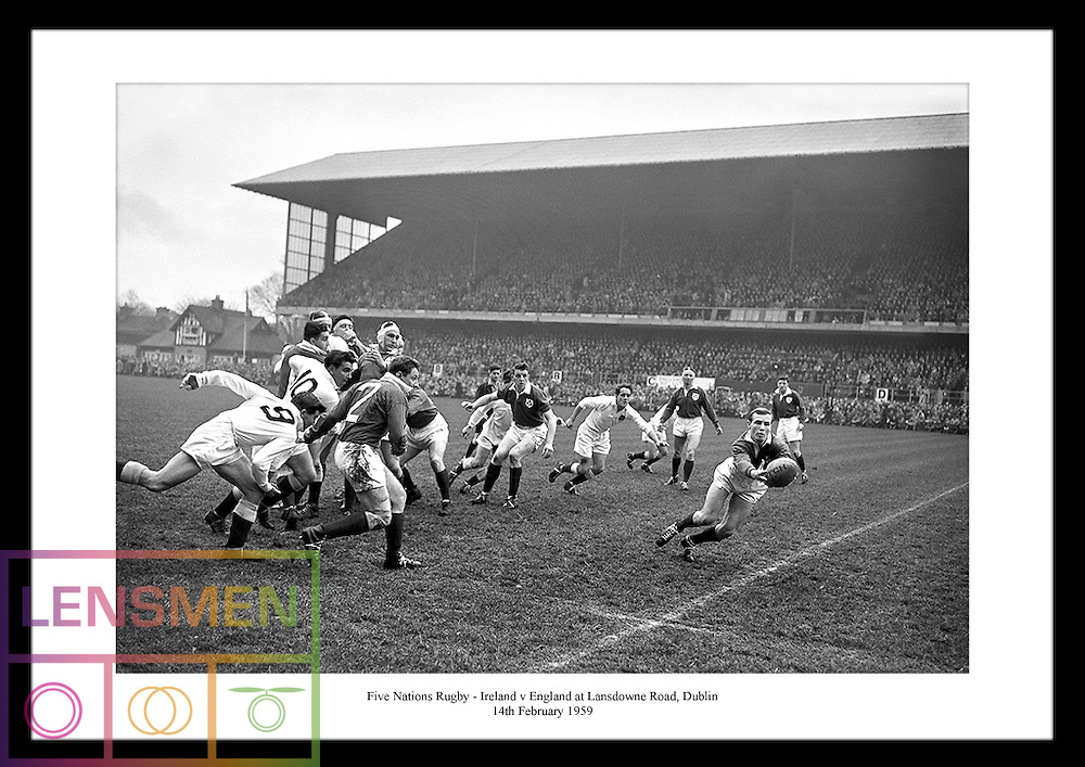 Five Nations Rugby - Ireland vs England at Lansdowne Road in Dublin on 14th February 1959.<br /> Five Nations Rugby included the Nations England, Ireland, Wales, France and Scotland. It became Six Nations Rugby with the joining of Italy in 2000.<br /> Check out www.irishphotoarchive.ie for more vintage shots of irish rugby.