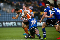 Marco Mama of Worcester Warriors is tackled by Beno Obano of Bath Rugby - Mandatory by-line: Robbie Stephenson/JMP - 15/02/2020 - RUGBY - Sixways Stadium - Worcester, England - Worcester Warriors v Bath Rugby - Gallagher Premiership Rugby