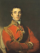 Arthur Wellesley, lst Duke of Wellington (1760-1852) Anglo-Irish soldier and statesman.  British Prime Minister 1827. Portrait after Thomas Lawrence, 1828.  Wellington in 1814, the year before Waterloo, in military uniform. Portrait by Thomas Lawrence.