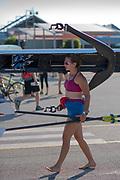 Plovdiv BULGARIA. 2017 FISA. Rowing World U23 Championships. <br /> PAR BW1X, ALONSO, Alejandra.<br /> Friday Boat Area. Boat Racks Pontoons.<br /> <br /> 08:29:11  Friday  21.07.17   <br /> <br /> [Mandatory Credit. Peter SPURRIER/Intersport Images].