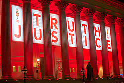 LIVERPOOL, ENGLAND - Tuesday, April 26, 2016: Liverpool City Council light up 96 lanterns and illuminate St George's Hall on Lime Street in red along with a banner which names those who lost their lives in the Hillsborough Disaster on the 15 April 1989 and displays the words 'Truth' and 'Justice'. This is to mark the verdicts in the two year inquest that returned a verdict of Unlawful Killing. (Pic by David Rawcliffe/Propaganda)