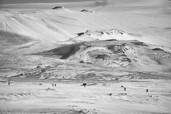 Aerial photos of people hiking towards the volcanic eruption, Fimmvorduhals, Iceland - eldgos á Fimmvörðuhálsi, loftmyndiraf fólki á leið á gosstöðvarnar
