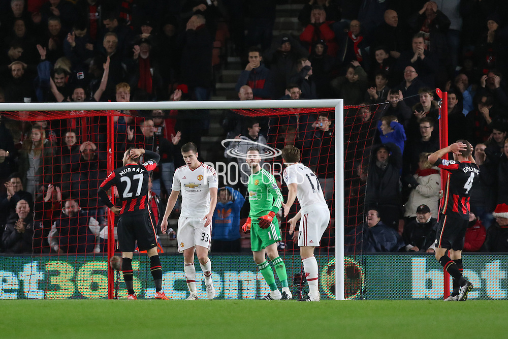 David De Gea of Manchester United shouts at his defence during the Barclays Premier League match between Bournemouth and Manchester United at the Goldsands Stadium, Bournemouth, England on 12 December 2015. Photo by Phil Duncan.