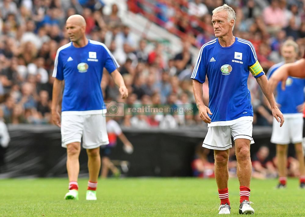 Zinedine Zidane and Didier Deschamps during the during the France 98 V Stade Toulousain match at the Ernest Wallon stadium in Toulouse, France, on July 10, 2017. Photo by Pascal Rondeau/ABACAPRESS.COM