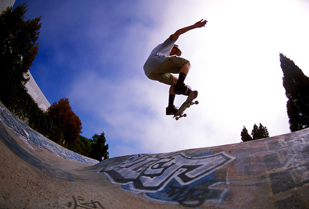 Matt Sterbenz ollies at Derby Park in Santa Cruz, CA