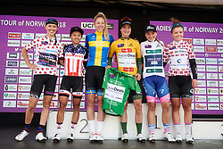 The celebrated riders: (L to R) Kasia Niewiadoma (POL), Coryn Rivera (USA), Emilia Fahlin (SWE), Marianne Vos (NED), Chiara Consonni (ITA) and Susanne Andersen (NOR) at Ladies Tour of Norway 2018 Stage 3. A 154 km road race from Svinesund to Halden, Norway on August 19, 2018. Photo by Sean Robinson/velofocus.com