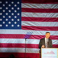 Democratic presidential candidate and former Colorado Governor John Hickenlooper speaks during a rally held to help kick off his presidential run at the Greek Amphitheater in Denver's Civic Center Park on Thursday, March 7, 2019. Photo by Andy Colwell, special to the Colorado Sun