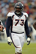 Denver Broncos offensive tackle Russell Okung (73) looks at the officials after getting called for a holding penalty during the 2016 NFL week 14 regular season football game against the Tennessee Titans on Sunday, Dec. 11, 2016 in Nashville, Tenn. The Titans won the game 13-10. (©Paul Anthony Spinelli)