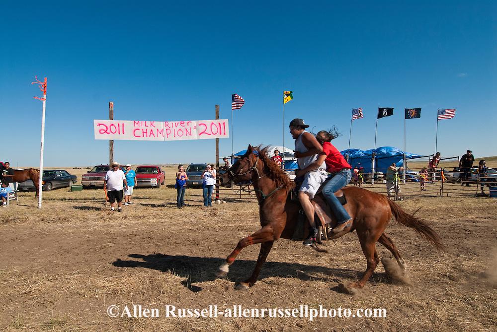 Fort Belknap Indian Reservation, Milk River Memorial Horse Races, Sweetheart Rescue Race..