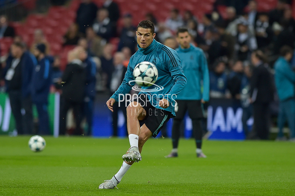 Real Madrid Forward, Cristiano Ronaldo (7) warming up before kick off during the Champions League match between Tottenham Hotspur and Real Madrid at Wembley Stadium, London, England on 1 November 2017. Photo by Adam Rivers.