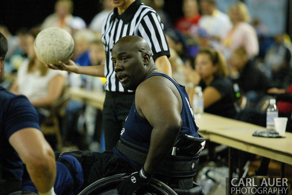 July 7th, 2006: Anchorage, AK - Johny Holland waits to inbound the ball as White defeated Blue in the gold medal game of Quad Rugby at the 26th National Veterans Wheelchair Games.