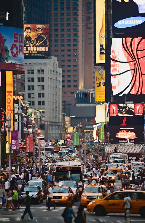 Times Square, New York, view up Broadway from 42nd Street