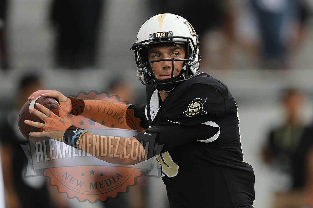 ORLANDO, FL - SEPTEMBER 08:  Heisman watch quarterback McKenzie Milton #10 of the UCF Knights is seen during warmups against the South Carolina State Bulldogs at Spectrum Stadium on September 8, 2018 in Orlando, Florida. (Photo by Alex Menendez/Getty Images) *** Local Caption *** McKenzie Milton