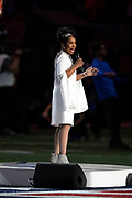 Gladys Knight sings the National Anthem as part of the pregame festivities before the NFL Super Bowl 53 football game featuring the New England Patriots against the Los Angeles Rams on Sunday, Feb. 3, 2019, in Atlanta. The Patriots defeated the Rams 13-3. (©Paul Anthony Spinelli)