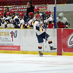 WELLINGTON, ON - JANUARY 11: Jacob Thousand #23 of the Wellington Dukes celebrates the goal on January 11, 2019 at Wellington and District Community Centre in Wellington, Ontario, Canada.<br /> (Photo by Ed McPherson / OJHL Images)