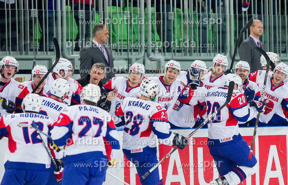 Slovenia celebrate after they scored for 3-2 during ice-hockey match between Slovenia and Japan at IIHF World Championship DIV. I Group A Slovenia 2012, on April 16, 2012 in Arena Stozice, Ljubljana, Slovenia. Slovenia defeated Japan 4-2. (Photo by Vid Ponikvar / Sportida.com)